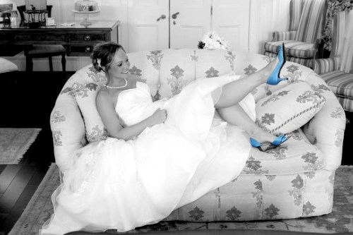 Bride with Blue Shoes at Kent Manor Inn