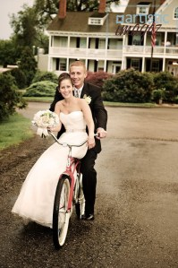 New Bride and Groom married on The Eastern Shore of Maryland is celebrating their wedding with a bike ride